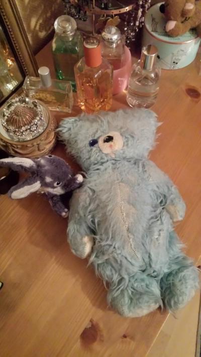 lapin et nounours bleu