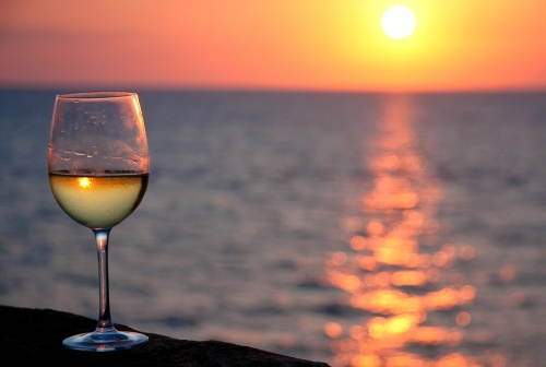 glass of wine sunset